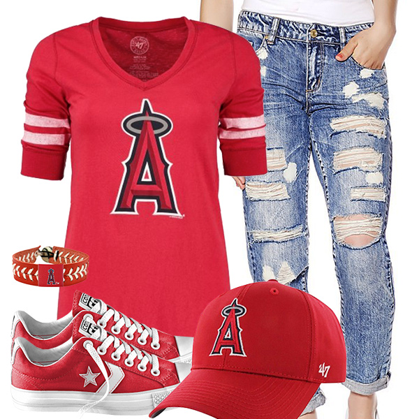 Los Angeles Angels Cute Boyfriend Jeans Outfit