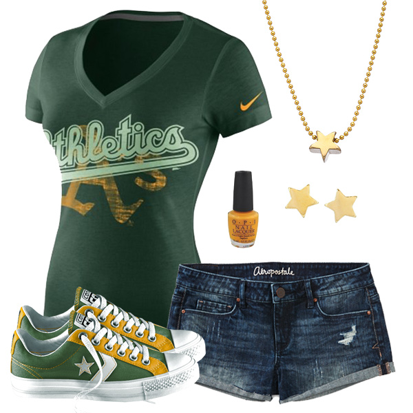 2779eea53192d Cute Oakland Athletics Vneck Tee, Oakland Athletics Converse Shoes