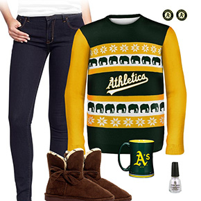 Oakland Athletics Ugly Sweater Love