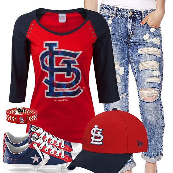 St Louis Cardinals Cute Boyfriend Jeans Outfit