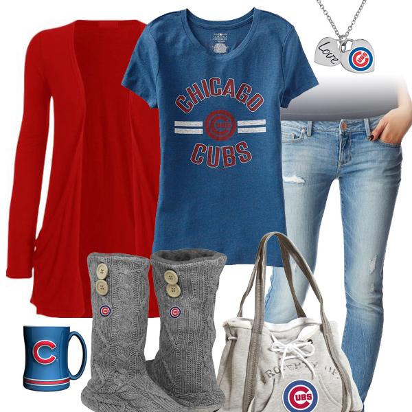 sale retailer 4433e 36edb Chicago Cubs MLB Team Tee, Chicago Cubs Heart Necklace