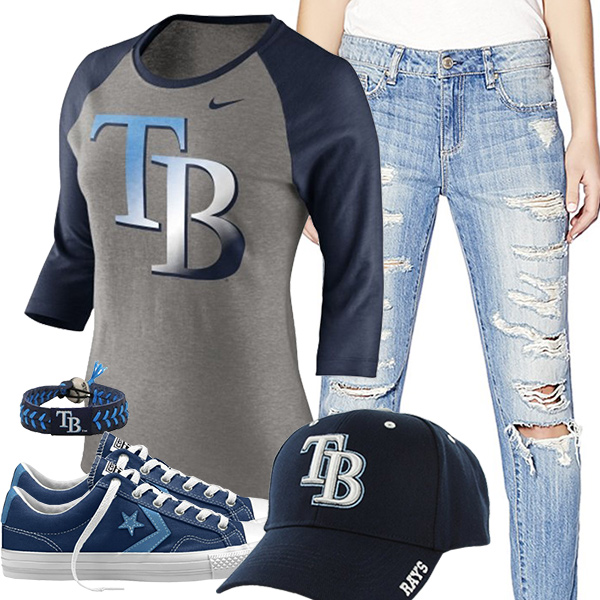 Tampa Bay Rays Cute Boyfriend Jeans Outfit
