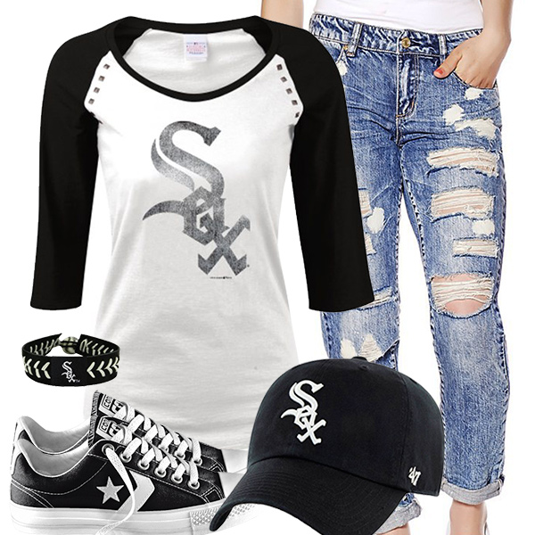 Chicago White Sox Cute Boyfriend Jeans Outfit
