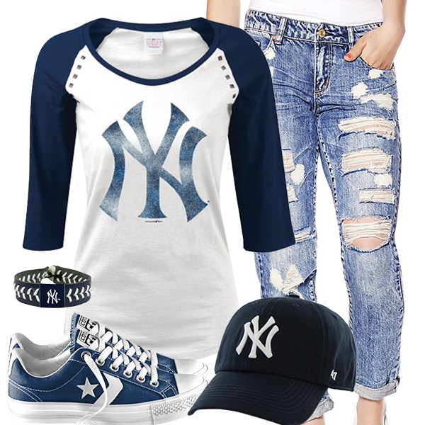 New York Yankees Cute Boyfriend Jeans Outfit