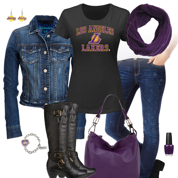 Los Angeles Lakers Jean Jacket Outfit