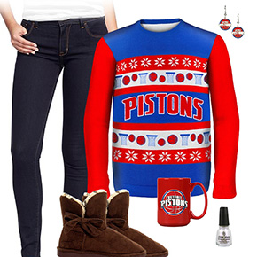 Detroit Pistons Ugly Sweater Love