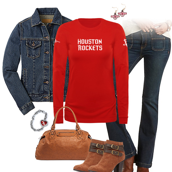 Houston Rockets Flare Jeans Outfit