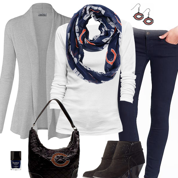 Chicago Bears Inspired Cardigan & Scarf Outfit