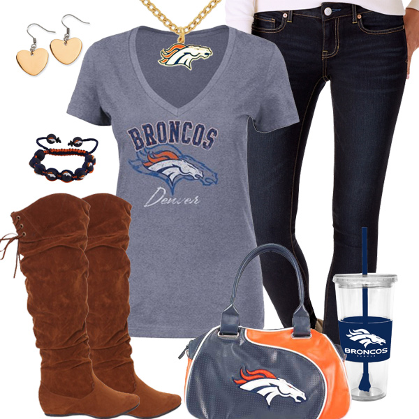 fe4fc096 Trendy Chill Denver Broncos Fan Outfit, Denver Broncos V-neck Tee