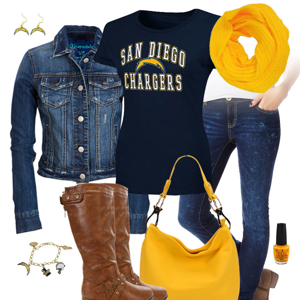 San Diego Chargers Baby Clothes: San Diego Chargers Jean Jacket Outfit, San Diego Chargers