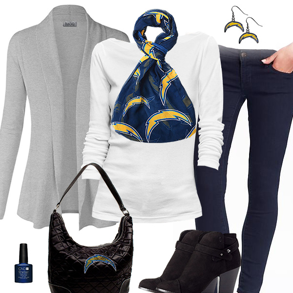 San Diego Chargers Inspired Cardigan & Scarf Outfit