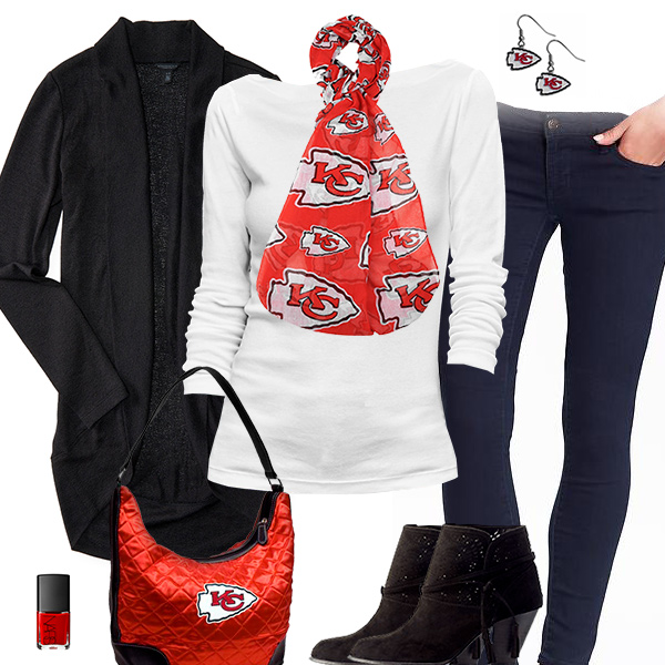 Kansas City Chiefs Inspired Cardigan & Scarf Outfit