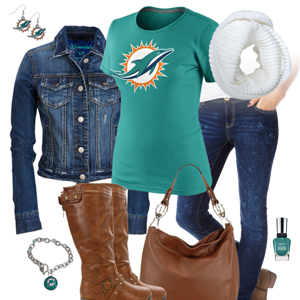 Miami Dolphins Jean Jacket Outfit