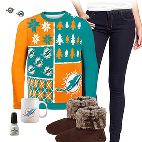 Miami Dolphins Ugly Sweater Love