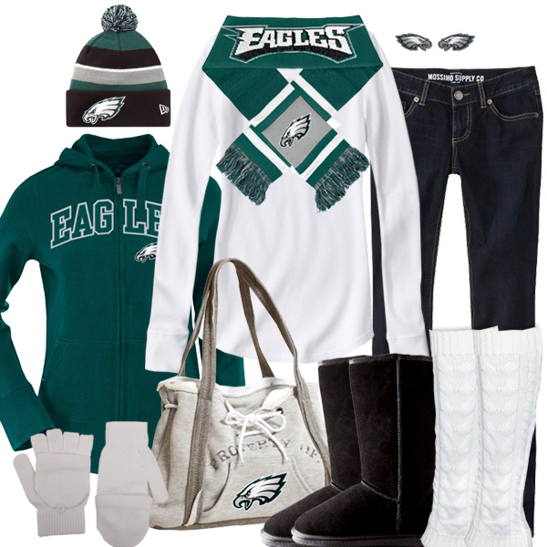 Get some more winter fashion from the outfit by changing out the team hoodie and accessories. Philadelphia Eagles Inspired Winter Fashion