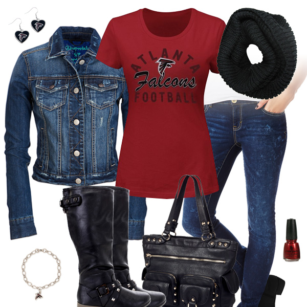 Atlanta Falcons Jean Jacket Outfit