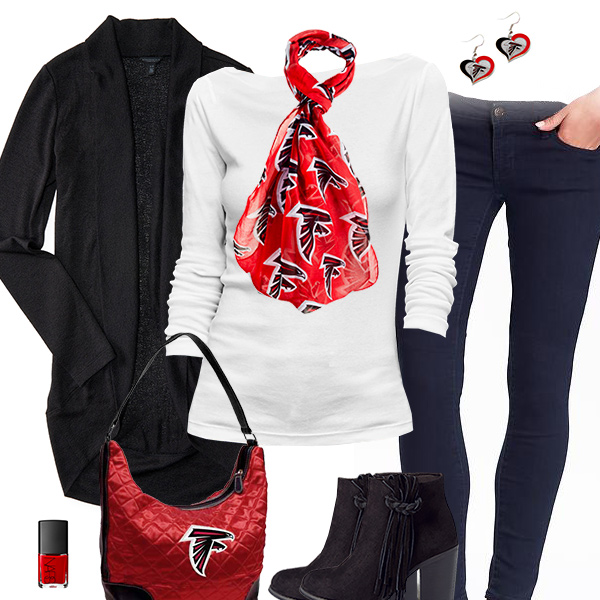 Atlanta Falcons Inspired Cardigan & Scarf Outfit