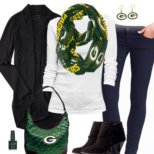 Green Bay Packers Inspired Cardigan & Scarf Outfit