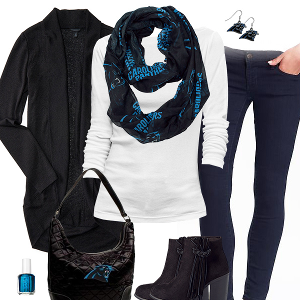 Carolina Panthers Inspired Cardigan & Scarf Outfit