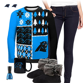 Carolina Panthers Ugly Sweater Love