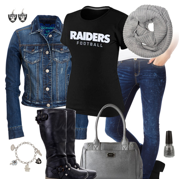 Oakland Raiders Jean Jacket Outfit