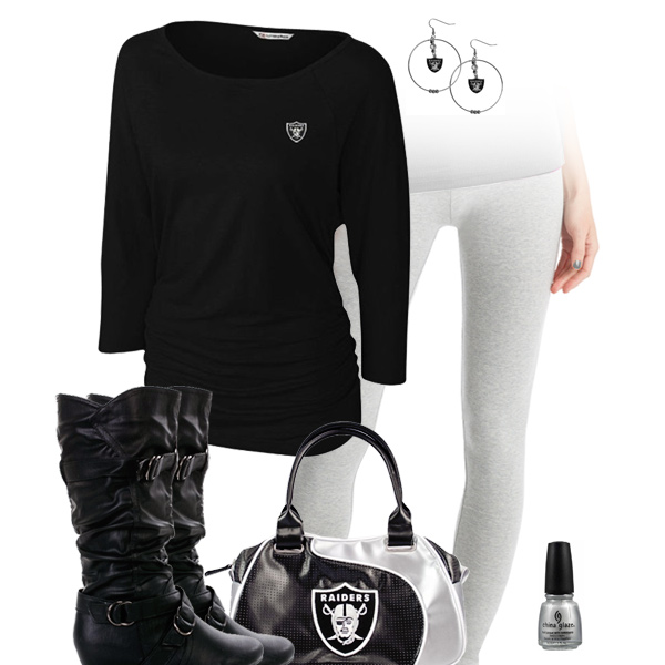 Oakland Raiders Inspired Leggings Outfit