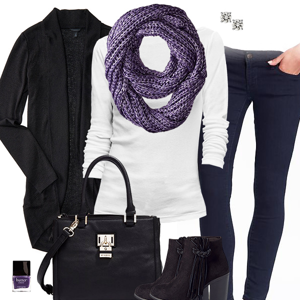 Cardigan & Scarf Outfit
