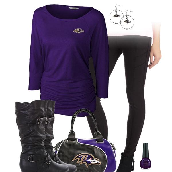 e4b0dd6e26baf Baltimore Ravens Leggings Outfit, Baltimore Ravens Dolman Top