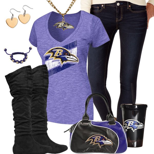 Trendy Chill Baltimore Ravens Fan Outfit Baltimore Ravens