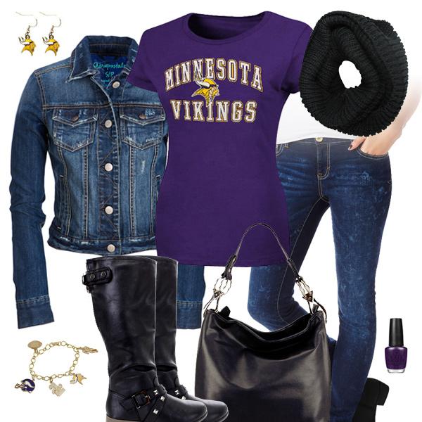 online retailer 2d792 596ea Minnesota Vikings Jean Jacket Outfit, Minnesota Vikings Fan Tee