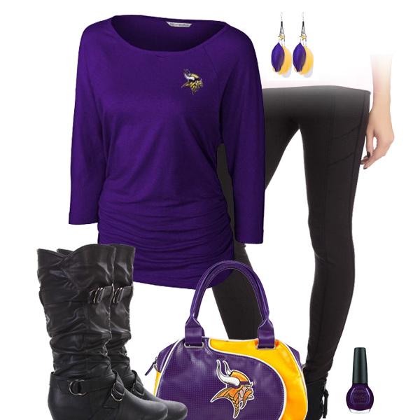 06de045b67578 Minnesota Vikings Leggings Outfit, Minnesota Vikings Dolman Top