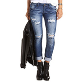 Destructed Skinny Boyfriend Jeans