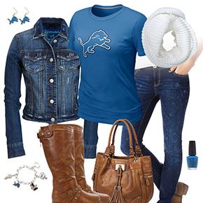 Detroit Lions Jean Jacket Outfit