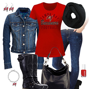 Tampa Bay Buccaneers Jean Jacket Outfit