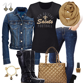 New Orleans Saints Jean Jacket Outfit