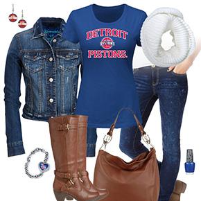 Detroit Pistons Jean Jacket Outfit