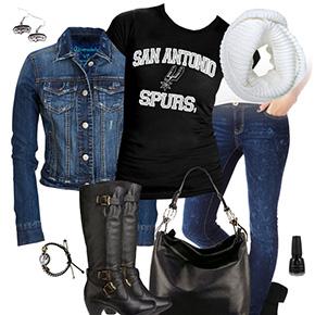 San Antonio Spurs Jean Jacket Outfit