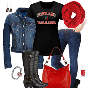 Portland Trail Blazers Jean Jacket Outfit