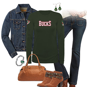 Milwaukee Bucks Flare Jeans Outfit