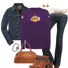 Los Angeles Lakers Flare Jeans Outfit