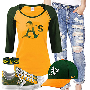 Oakland Athletics Cute Boyfriend Jeans Outfit