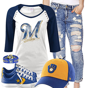 Milwaukee Brewers Cute Boyfriend Jeans Outfit