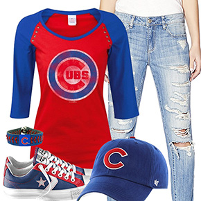 Chicago Cubs Cute Boyfriend Jeans Outfit