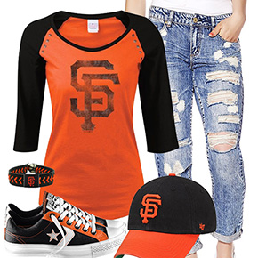 San Francisco Giants Cute Boyfriend Jeans Outfit