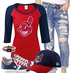 Cleveland Indians Cute Boyfriend Jeans Outfit