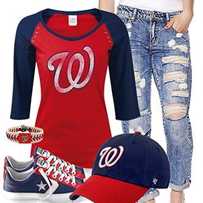 Washington Nationals Cute Boyfriend Jeans Outfit