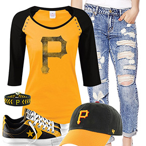 Pittsburgh Pirates Cute Boyfriend Jeans Outfit