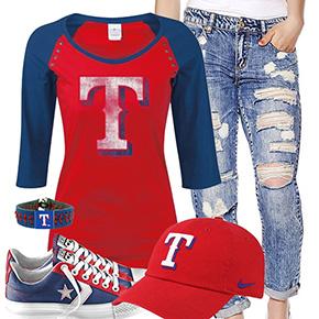 Texas Rangers Cute Boyfriend Jeans Outfit