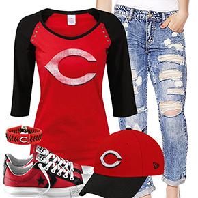 Cincinnati Reds Cute Boyfriend Jeans Outfit