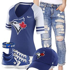 Toronto Blue Jays Cute Boyfriend Jeans Outfit